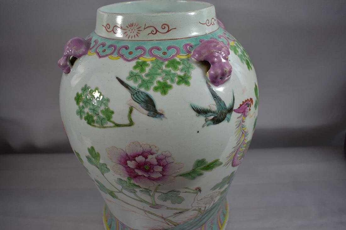 ANtique Chinese Famille Rose Jar/Vase with Figures - 8