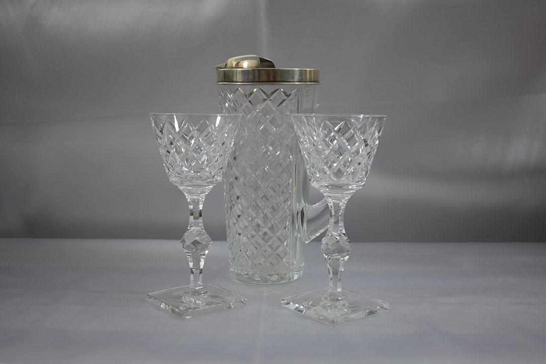 3PC Tiffany & Co Sterling Mtd Pitcher & Glass