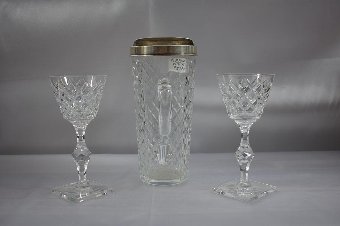3PC Tiffany & Co Sterling Mtd Pitcher & Glass - 2