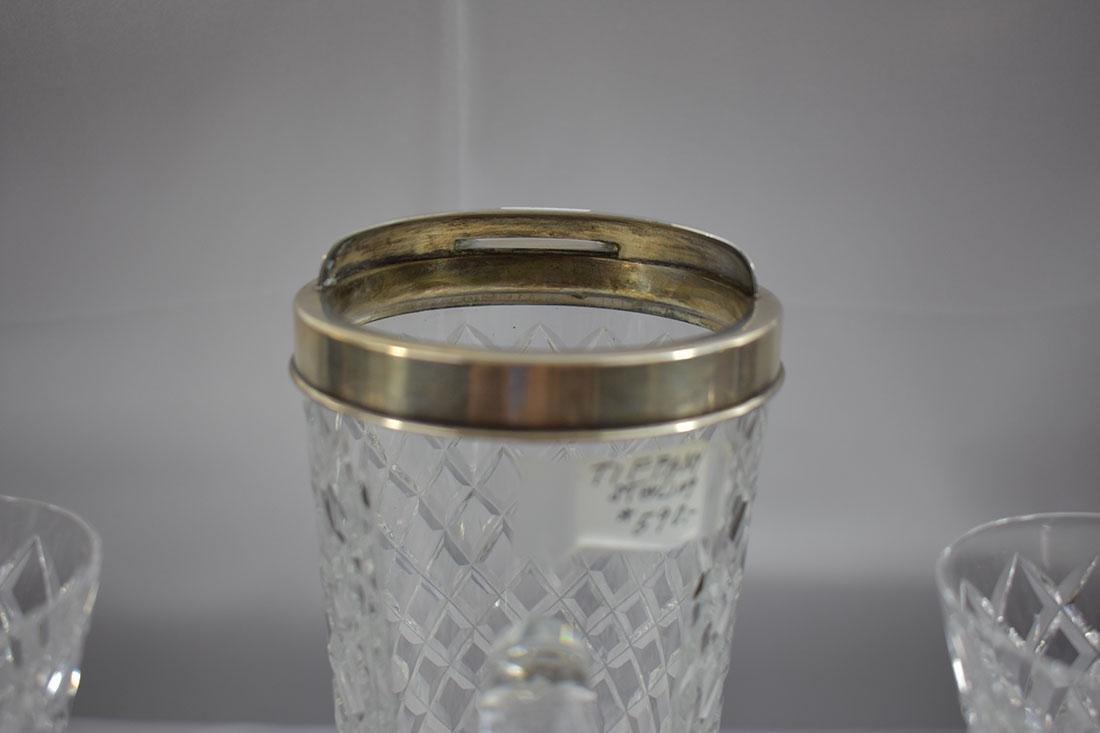 3PC Tiffany & Co Sterling Mtd Pitcher & Glass - 3