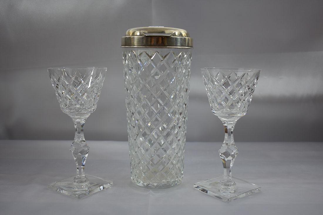 3PC Tiffany & Co Sterling Mtd Pitcher & Glass - 5
