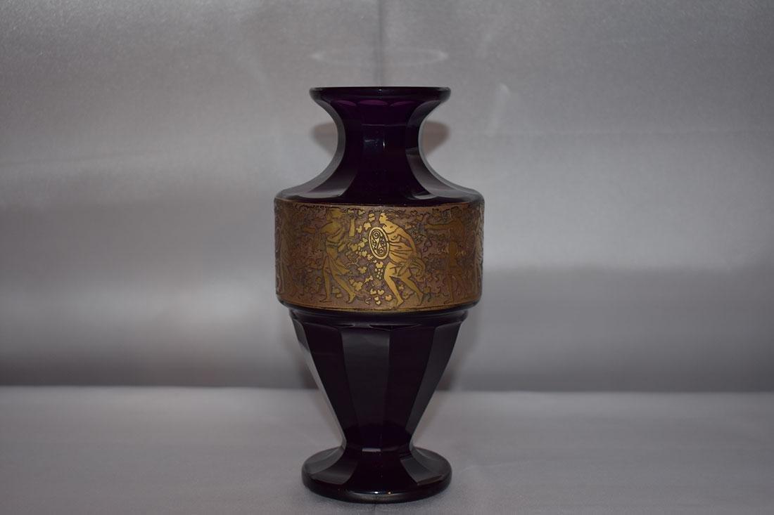 """Antique Moser Glass Vase signed """"Carlsbad"""" - 9"""