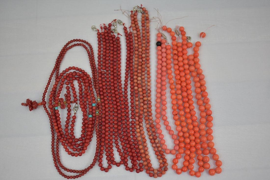Lot of 13 Chinese Coral Necklaces