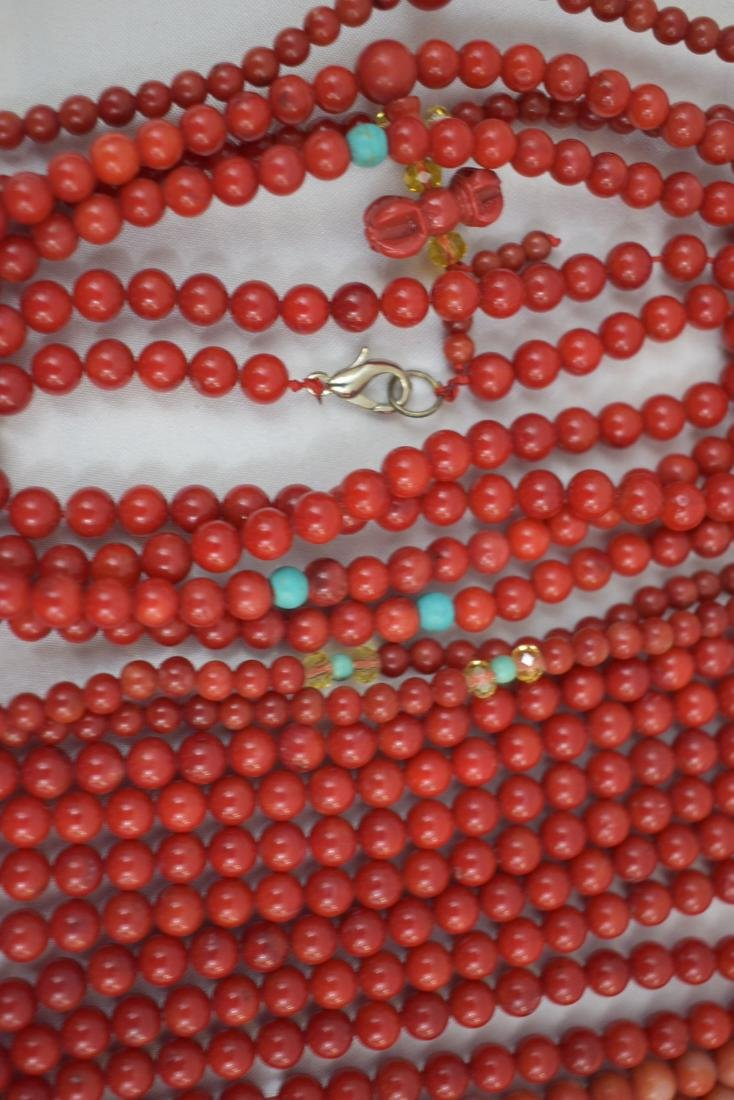 Lot of 13 Chinese Coral Necklaces - 5