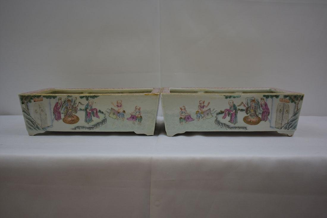 Antique Chinese Famille Rose Planters 19c