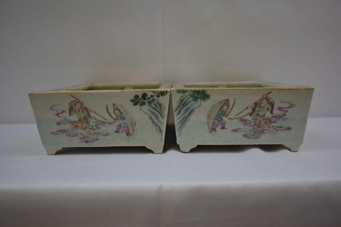 Antique Chinese Famille Rose Planters 19c - 4