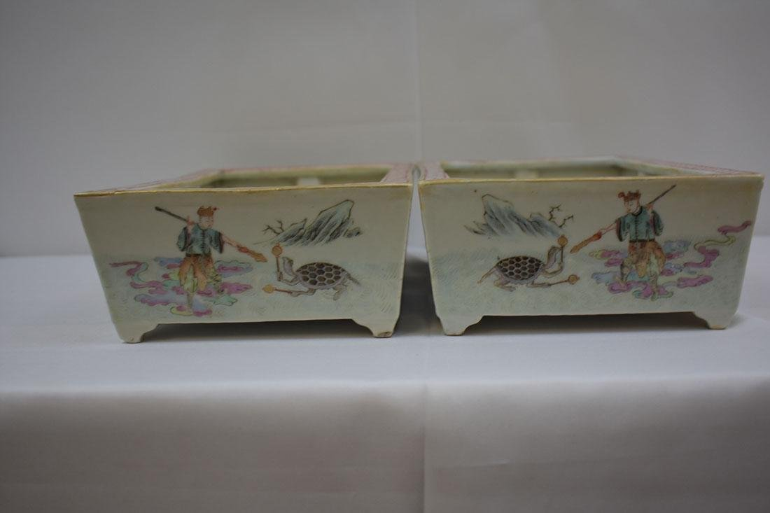 Antique Chinese Famille Rose Planters 19c - 9