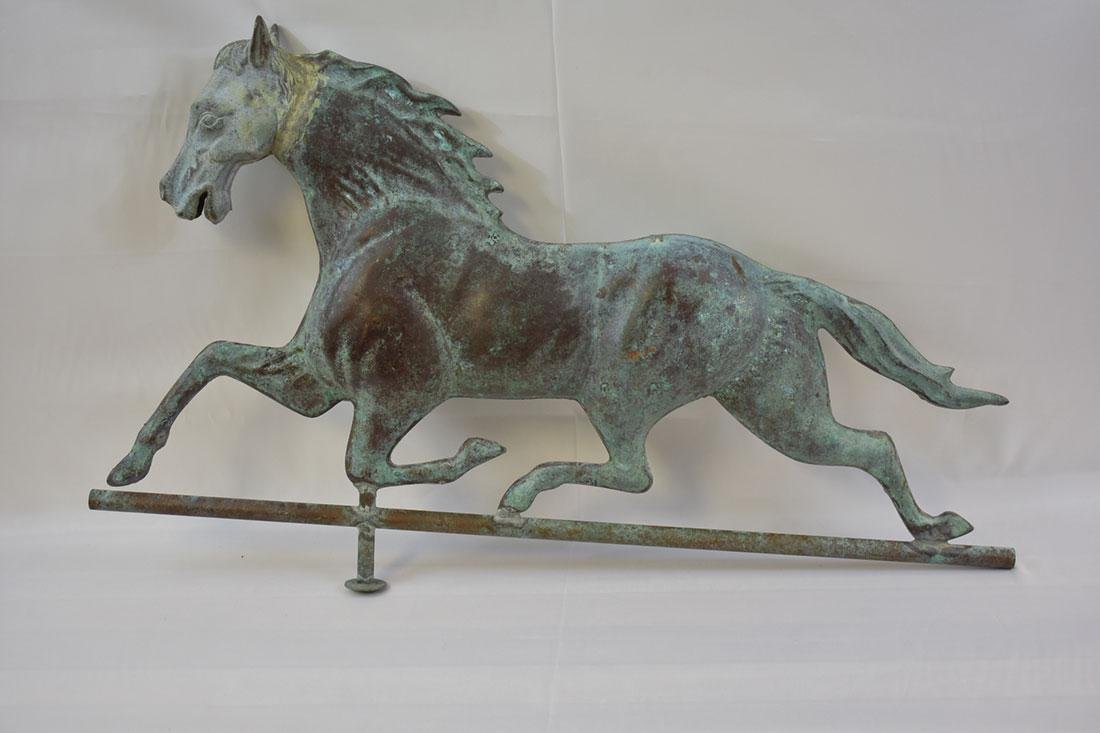 Lg Patinated Molded Copper Horse Weather Vane JW Fiske?