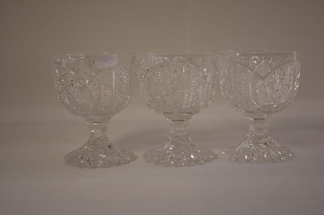 3 Cut Glass Goblets Signed Libbey