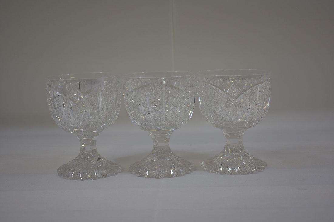 3 Cut Glass Goblets Signed Libbey - 2