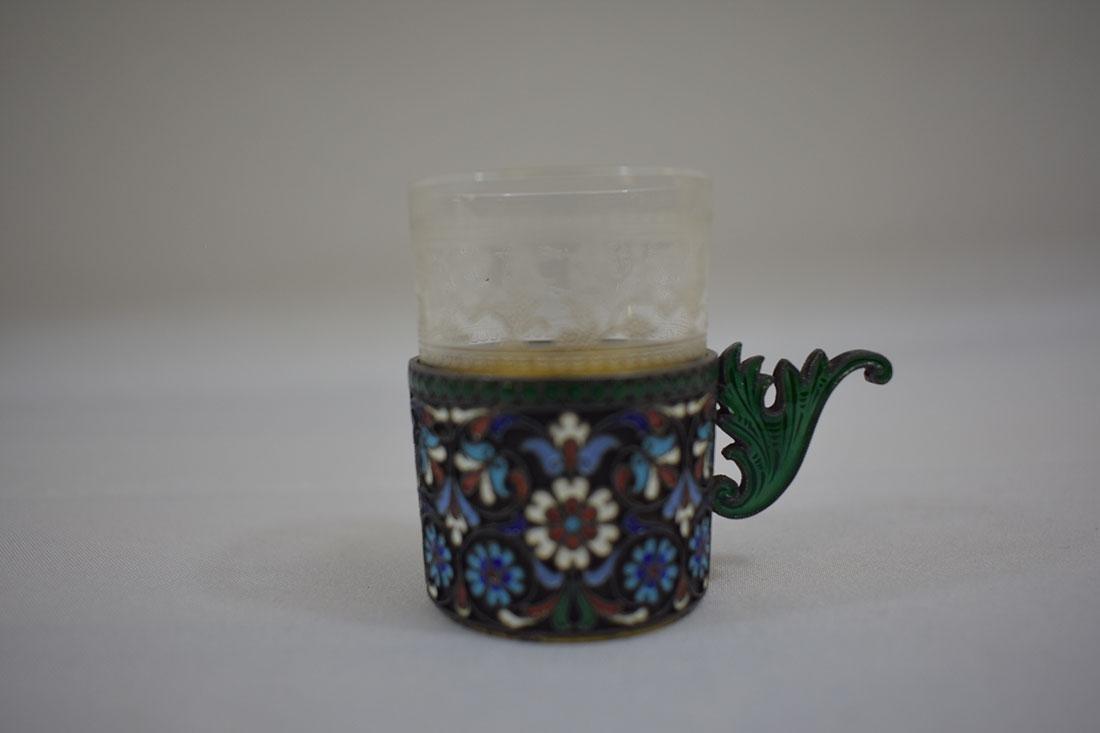 Russian Sterling & Enamel Tea Cup