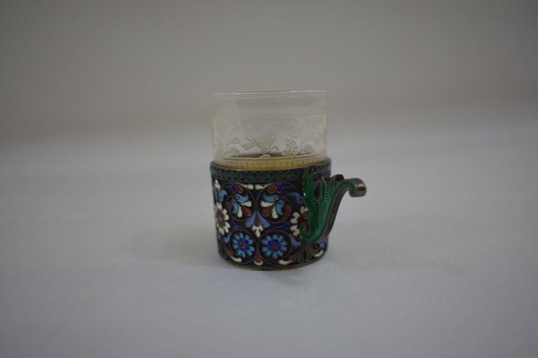Russian Sterling & Enamel Tea Cup - 2