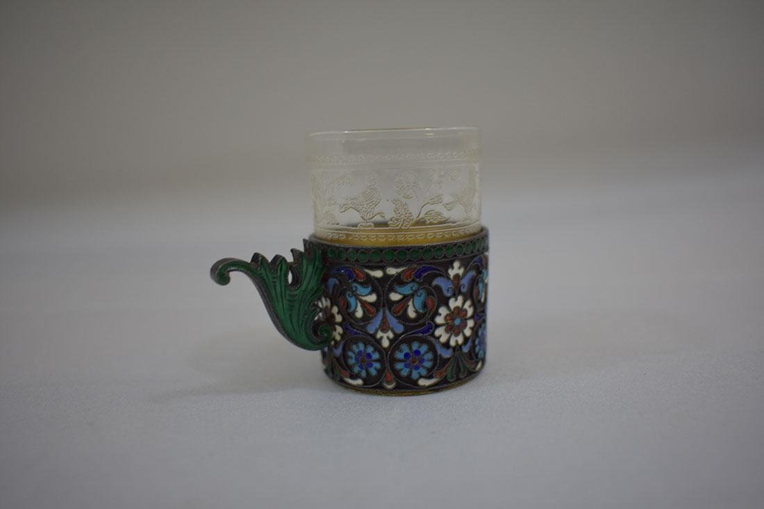 Russian Sterling & Enamel Tea Cup - 4