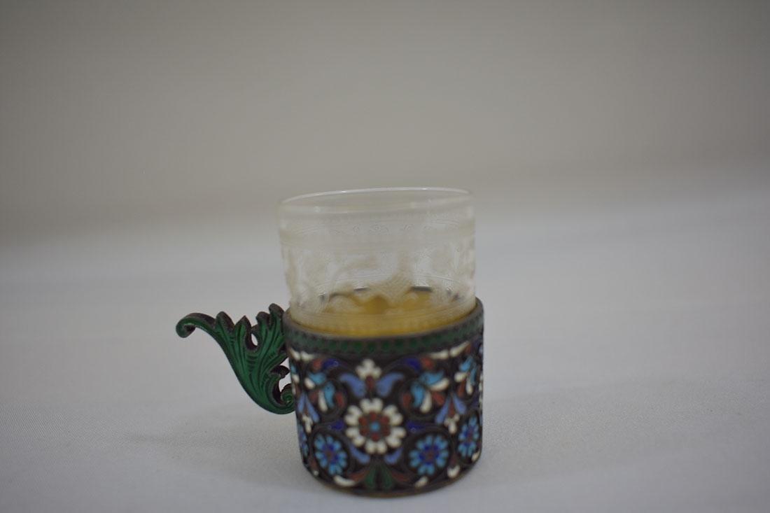 Russian Sterling & Enamel Tea Cup - 7
