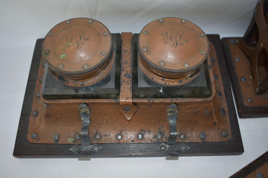 Complete Arts & Crafts 16 PC Desk Set Copper & Silver - 3