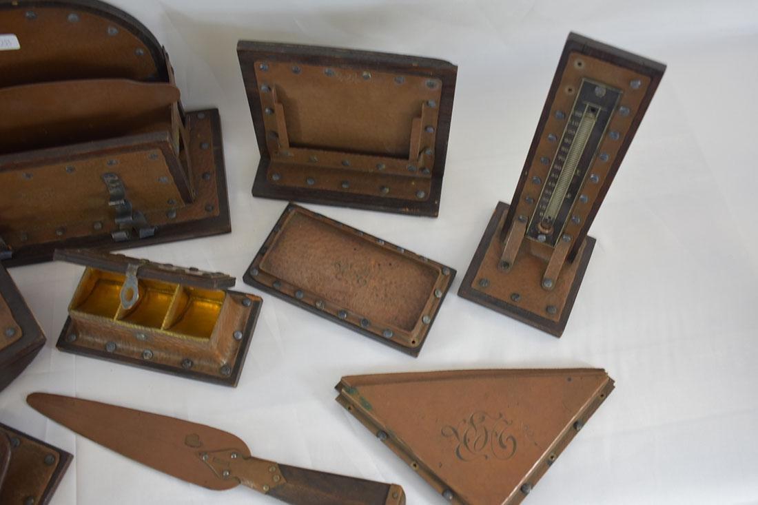 Complete Arts & Crafts 16 PC Desk Set Copper & Silver - 6
