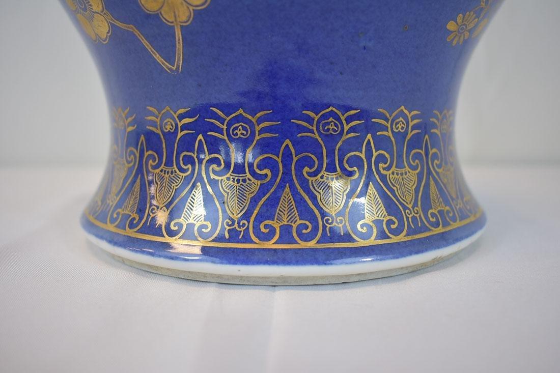 Antique Chinese Monochrome Gilt Jar Power Blue - 2