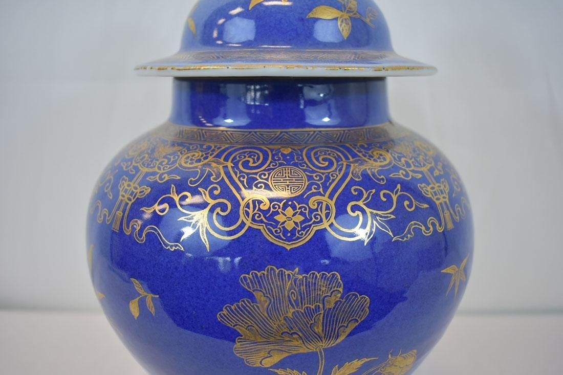 Antique Chinese Monochrome Gilt Jar Power Blue - 3