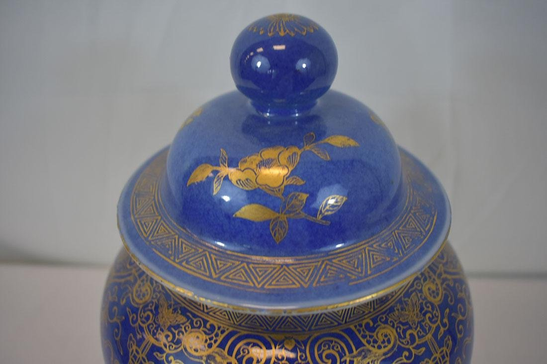 Antique Chinese Monochrome Gilt Jar Power Blue - 4