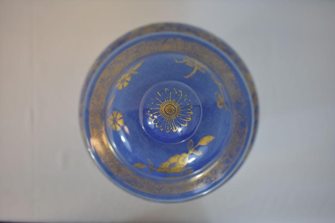 Antique Chinese Monochrome Gilt Jar Power Blue - 5