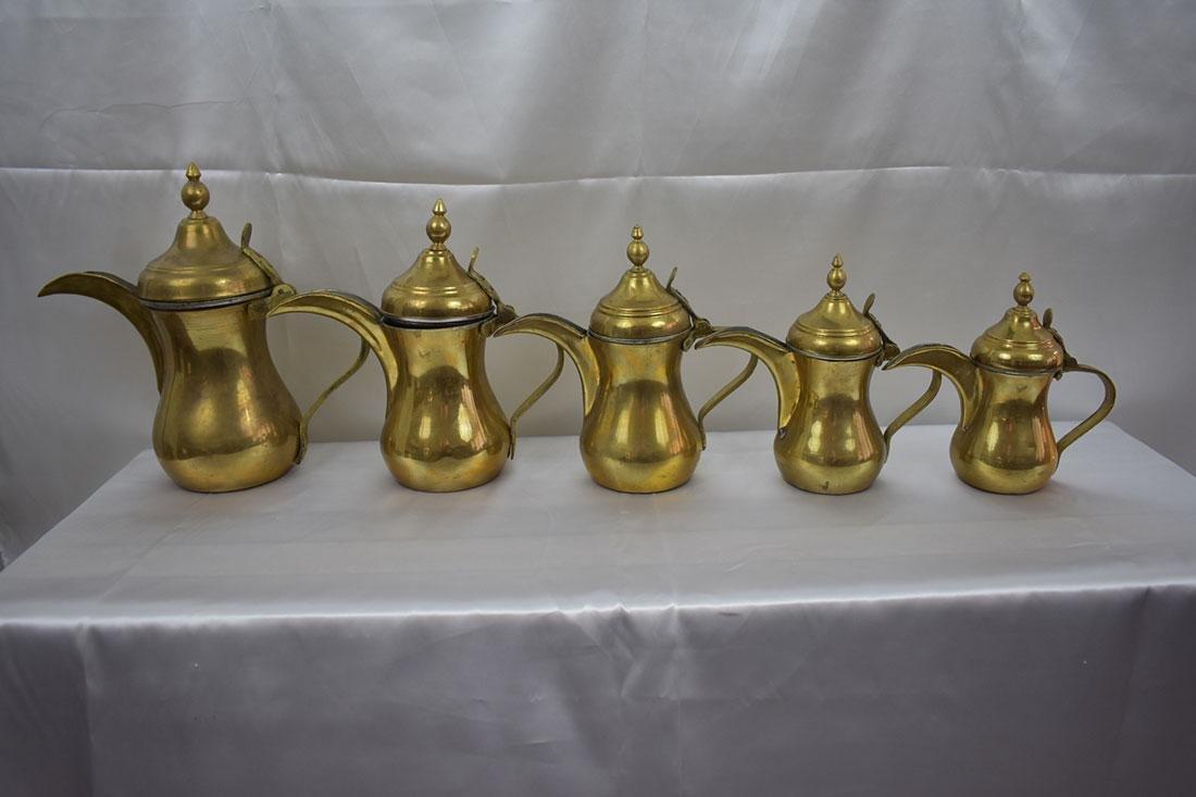 Set 5 Dallah Brass Teapots