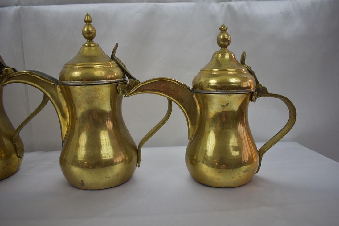 Set 5 Dallah Brass Teapots - 2