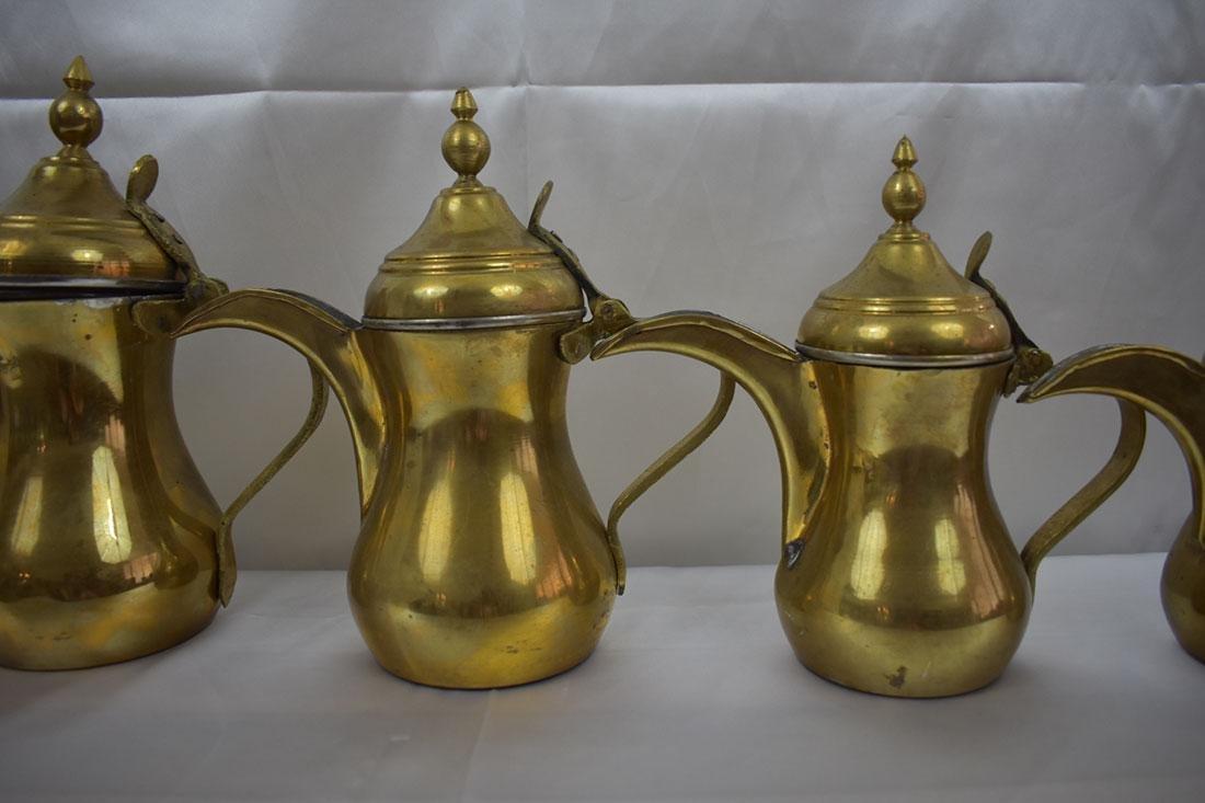 Set 5 Dallah Brass Teapots - 3