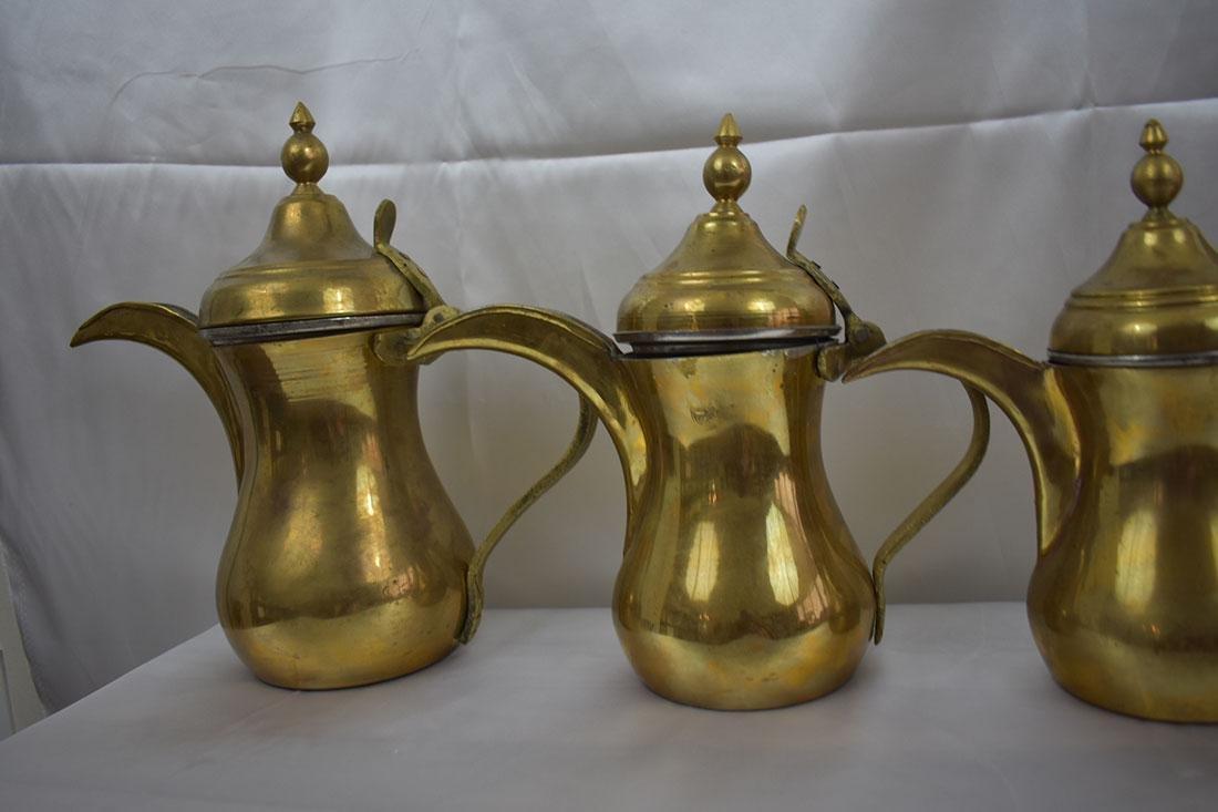 Set 5 Dallah Brass Teapots - 4