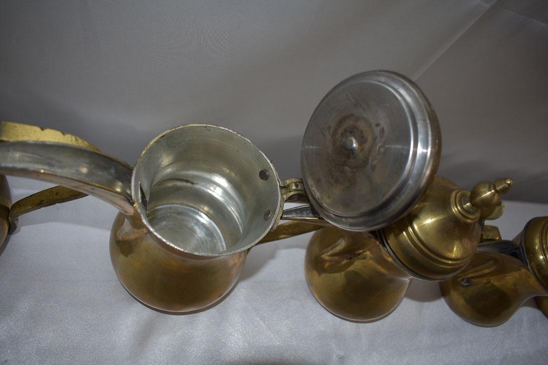 Set 5 Dallah Brass Teapots - 6
