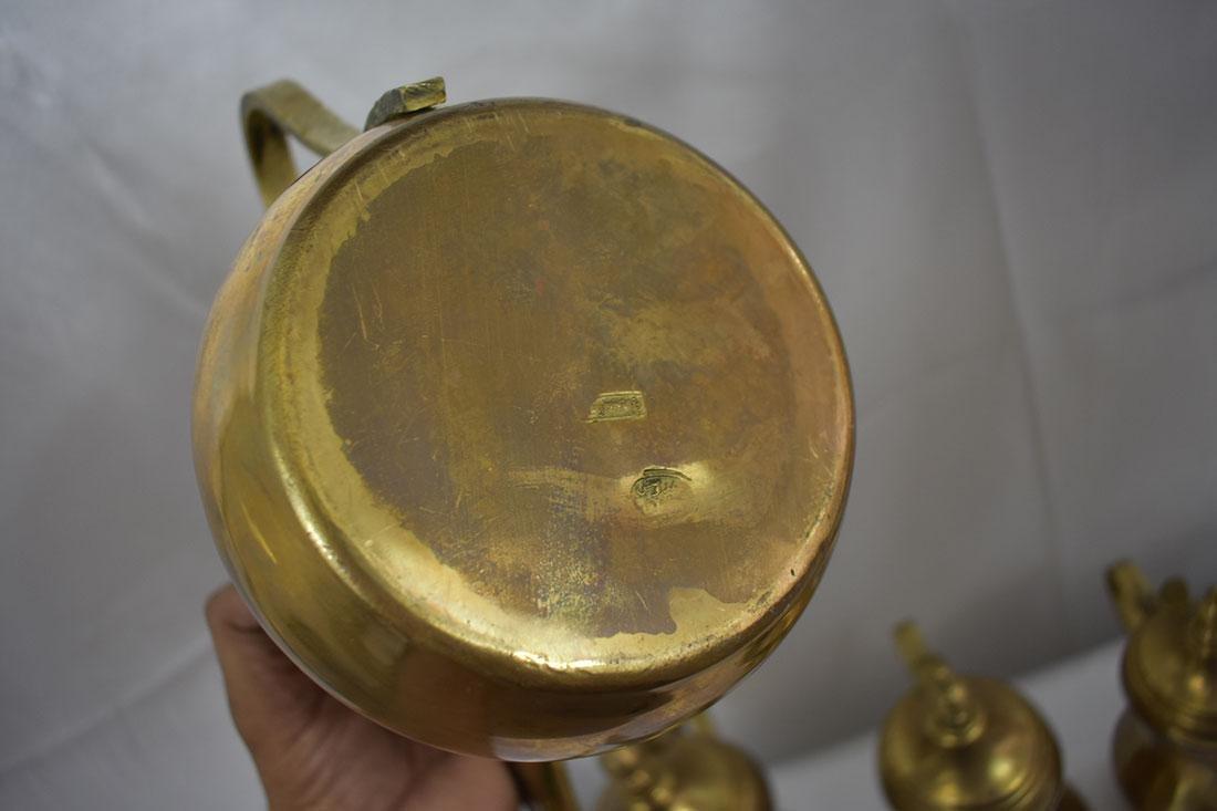 Set 5 Dallah Brass Teapots - 9