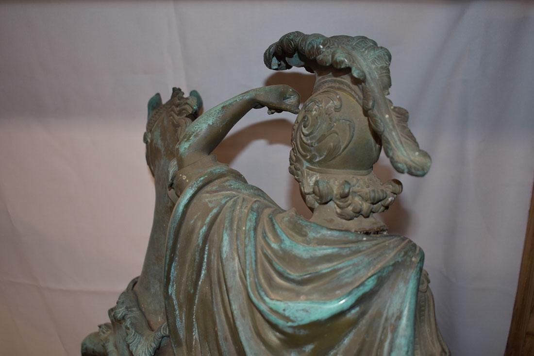 Antique Bronze Roman Warrior on Horse Sculpture 19C - 10