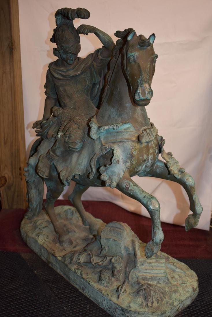 Antique Bronze Roman Warrior on Horse Sculpture 19C