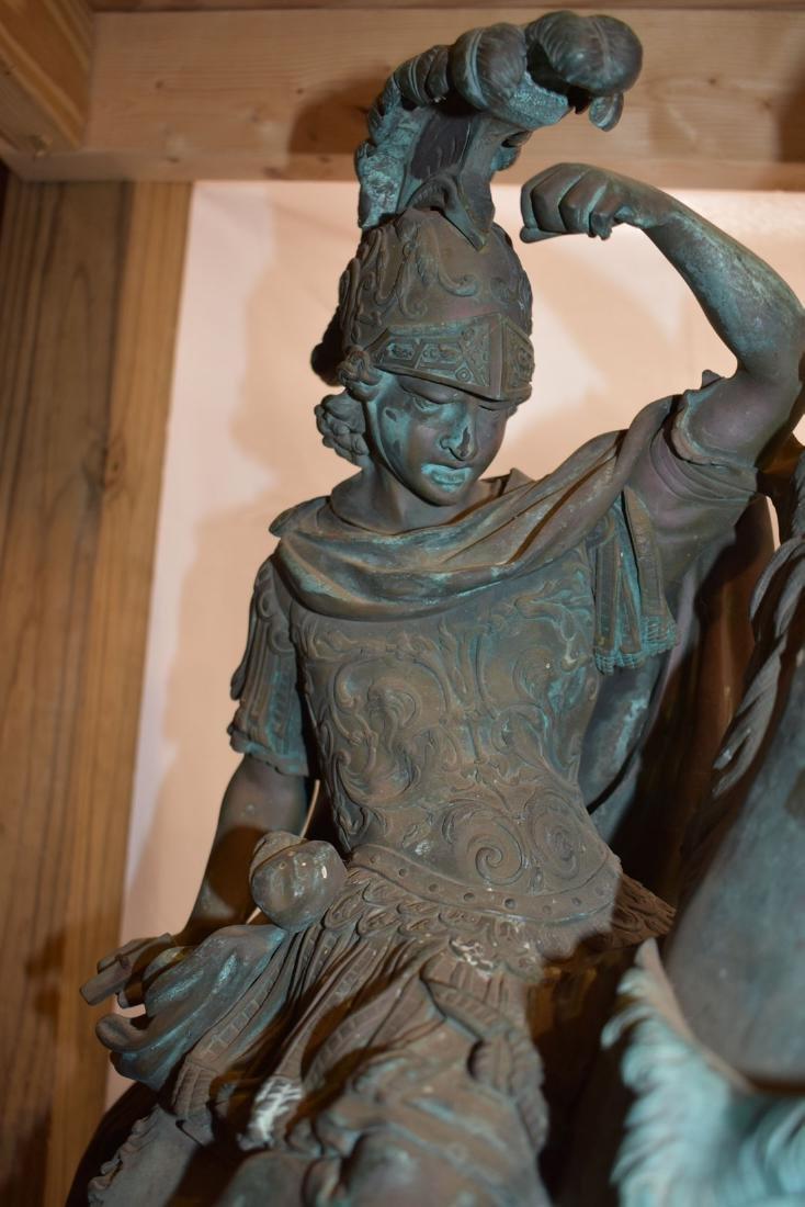 Antique Bronze Roman Warrior on Horse Sculpture 19C - 2