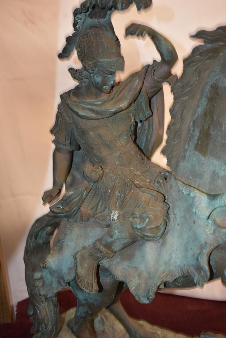 Antique Bronze Roman Warrior on Horse Sculpture 19C - 5