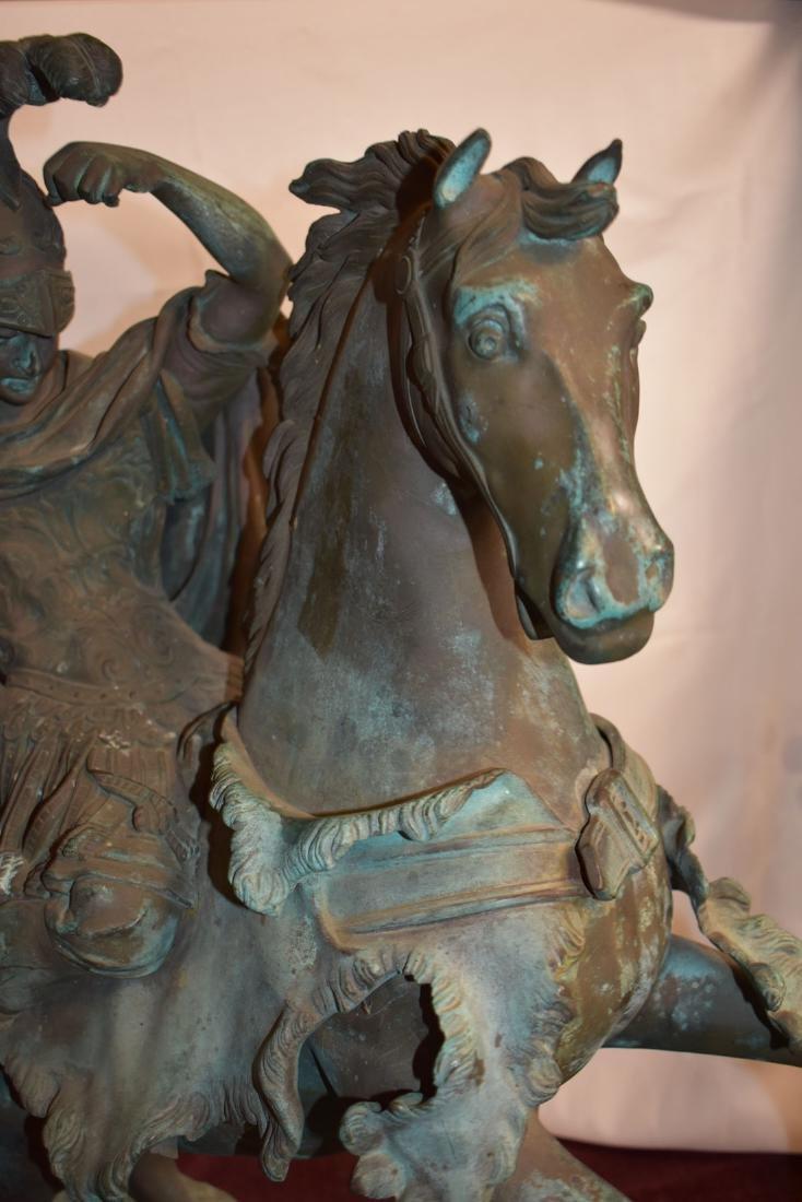 Antique Bronze Roman Warrior on Horse Sculpture 19C - 6