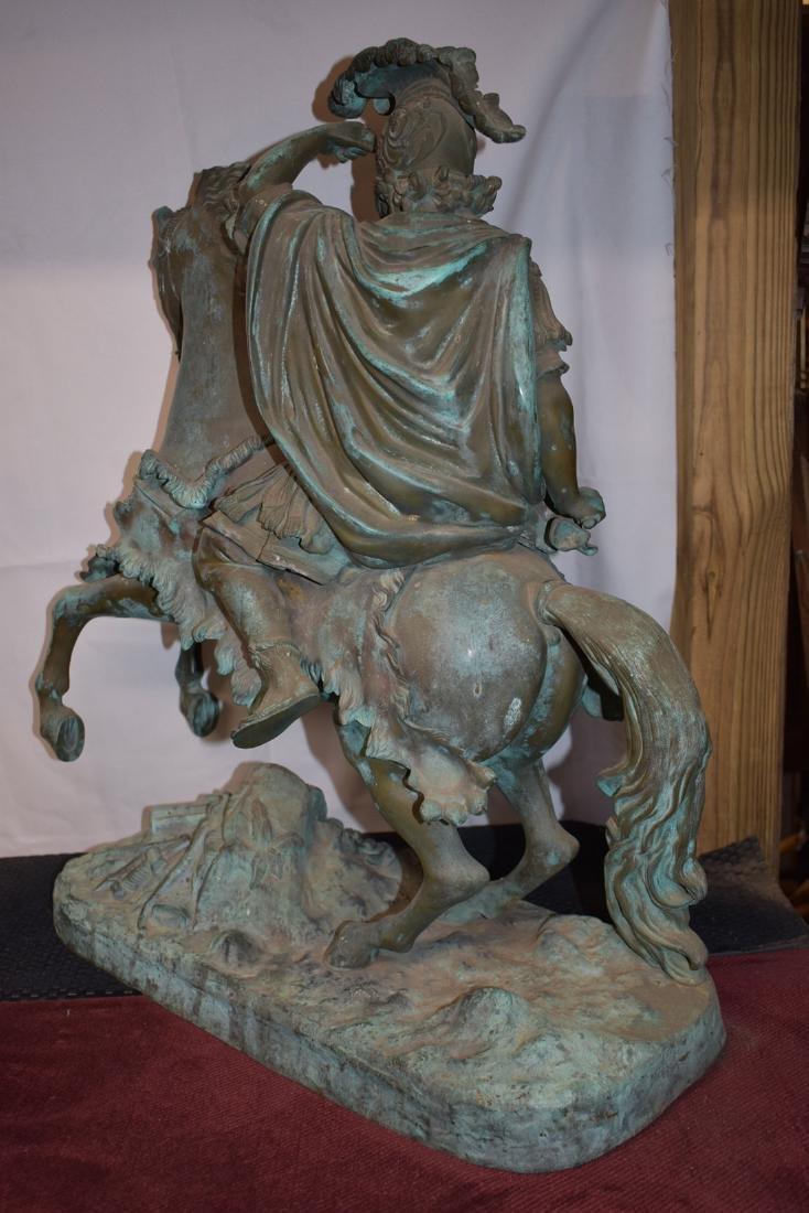 Antique Bronze Roman Warrior on Horse Sculpture 19C - 7