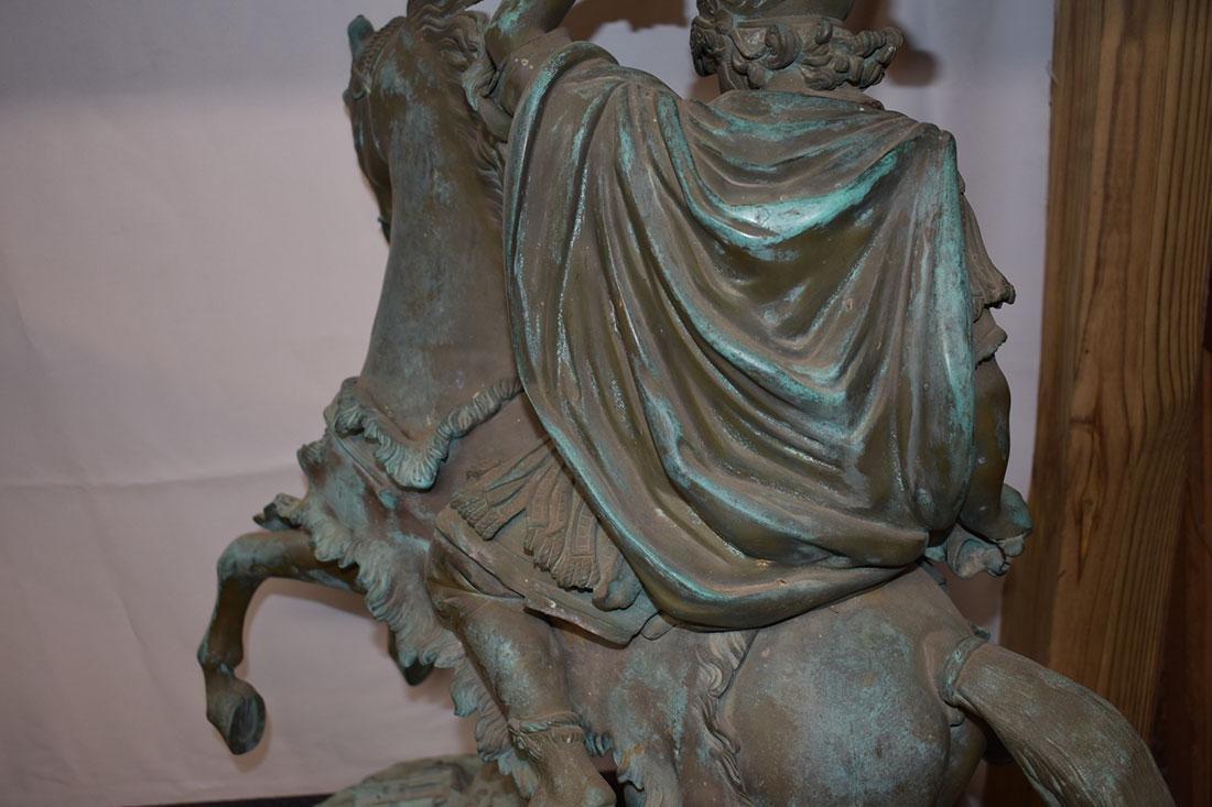 Antique Bronze Roman Warrior on Horse Sculpture 19C - 9