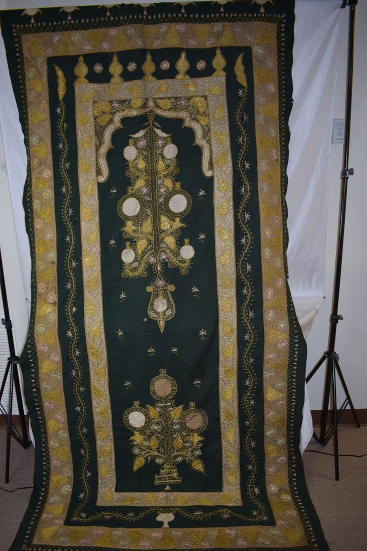 Early Antique Gold Thread Embroidered Tapestry 19 c