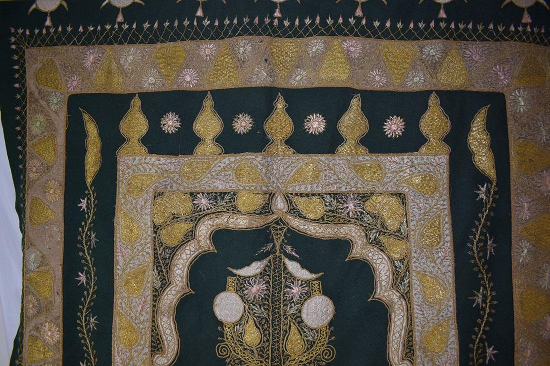 Early Antique Gold Thread Embroidered Tapestry 19 c - 2