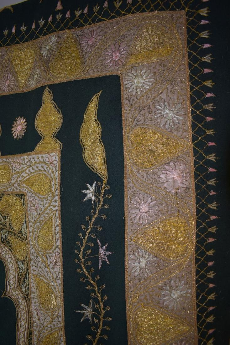 Early Antique Gold Thread Embroidered Tapestry 19 c - 5