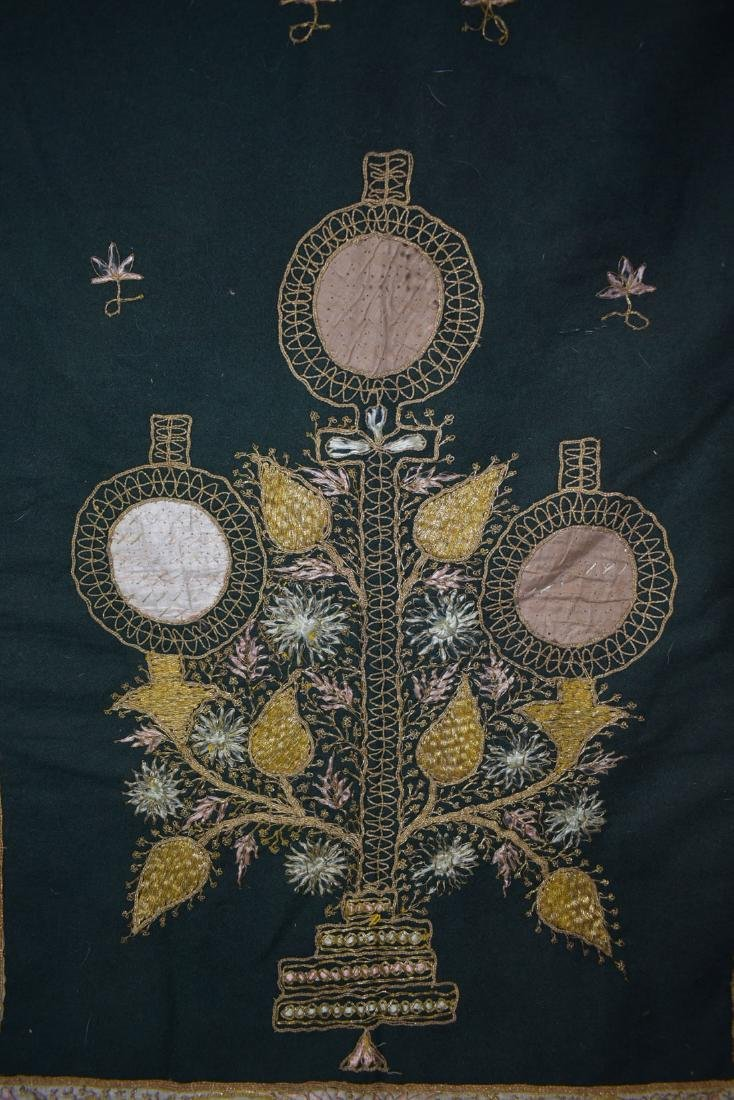 Early Antique Gold Thread Embroidered Tapestry 19 c - 6