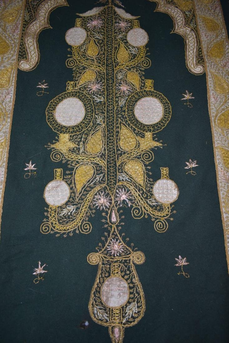 Early Antique Gold Thread Embroidered Tapestry 19 c - 7