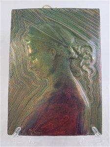 Signed Delphin  Massier Ceramic Tile 1836-1907
