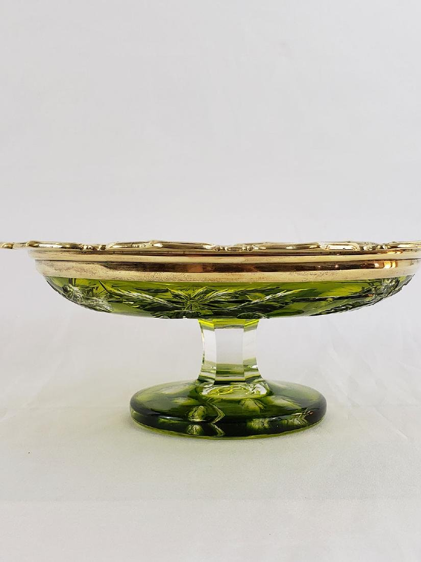 A Fine Baccarat Green Cut To Clear Cut Glass Compote