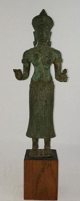 Antique Khamer Goddess Uma Bronze Statue 12-15th C