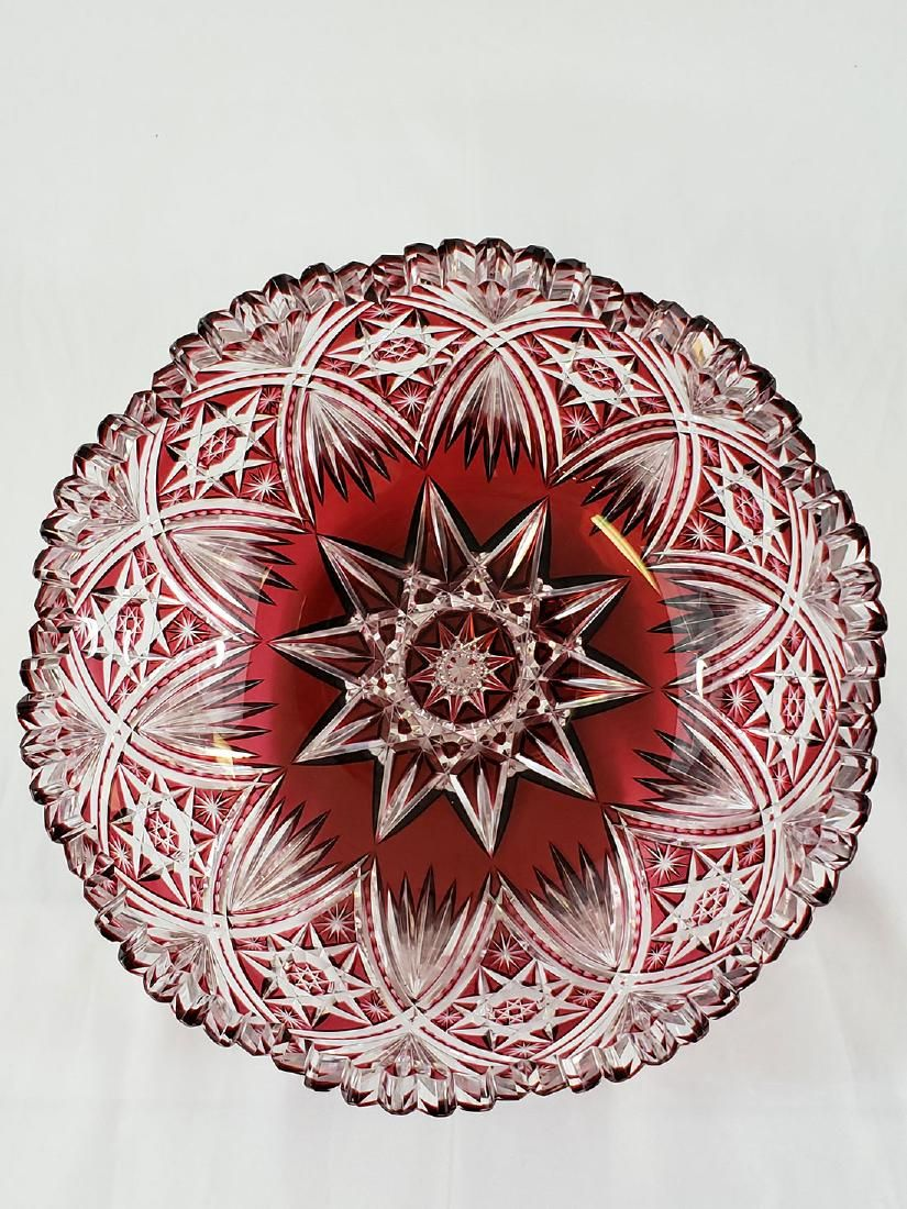 A Fine Antique Cut To Clear Cut Glass Cranberry Bowl