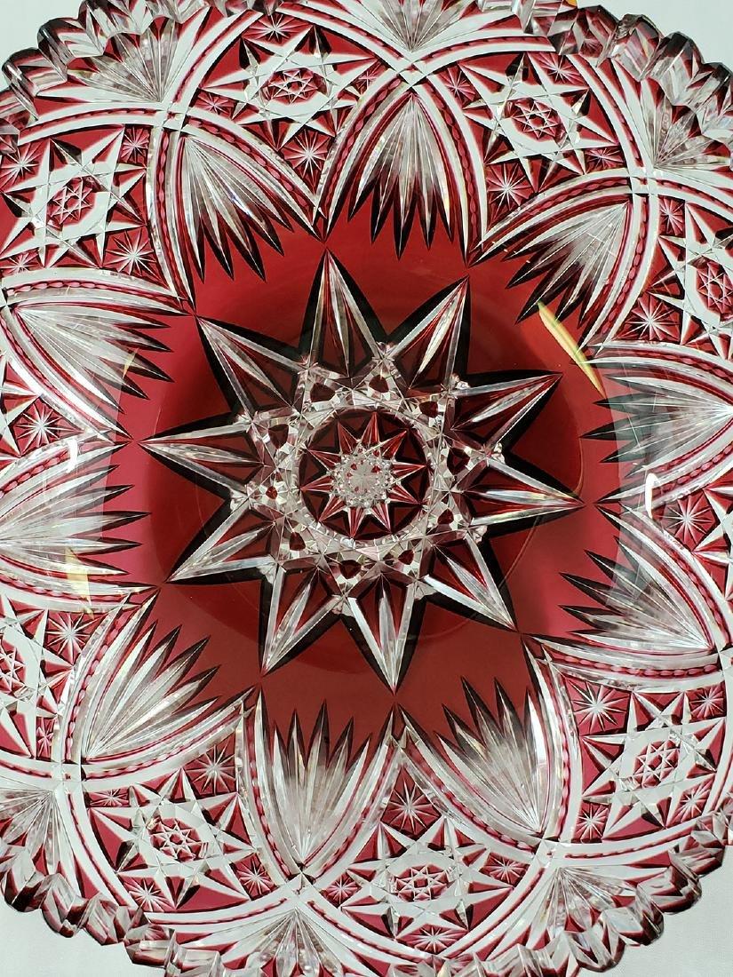 A Fine Antique Cut To Clear Cut Glass Cranberry Bowl - 2