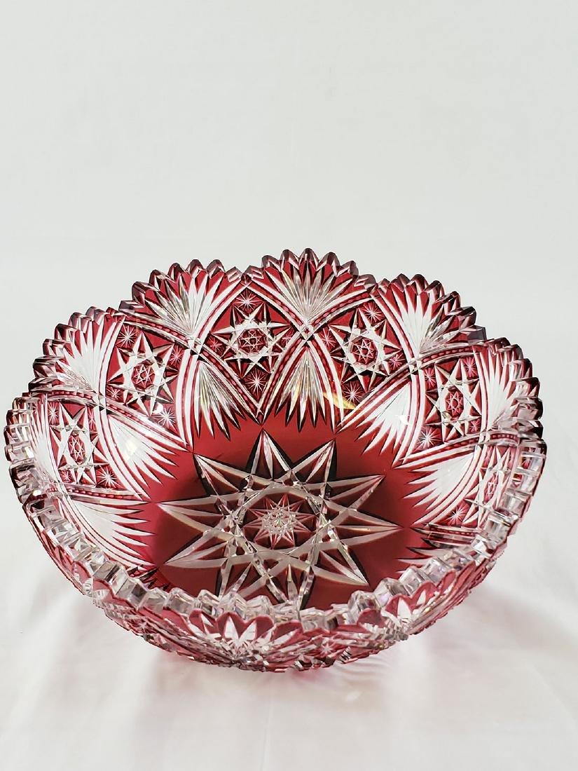 A Fine Antique Cut To Clear Cut Glass Cranberry Bowl - 3