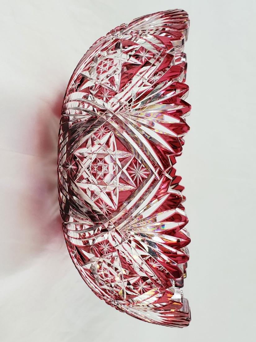 A Fine Antique Cut To Clear Cut Glass Cranberry Bowl - 5