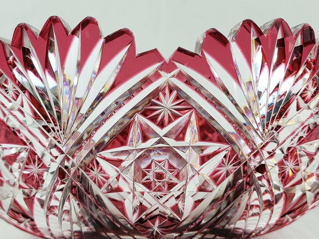 A Fine Antique Cut To Clear Cut Glass Cranberry Bowl - 7